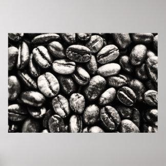 Poster blanco y negro de los granos de café