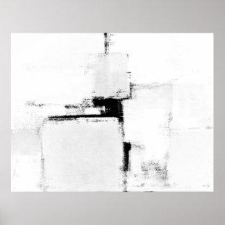 Poster blanco y negro del arte abstracto del