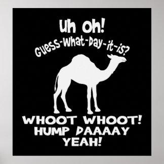 Poster blanco y negro del camello del día de chepa