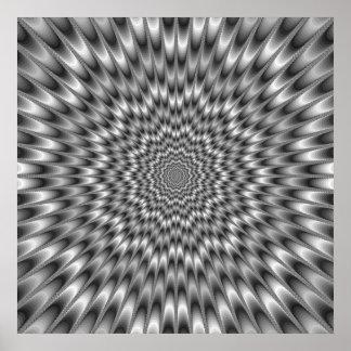 Poster blanco y negro del doblador del ojo