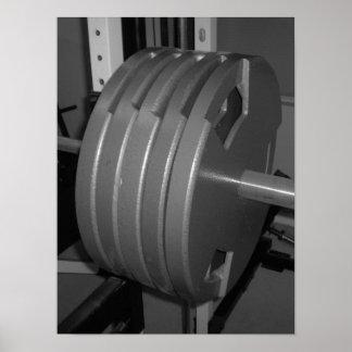 Poster blanco y negro del gimnasio del ejercicio d
