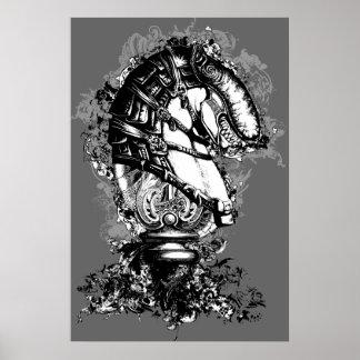 Poster blanco y negro del monstruo