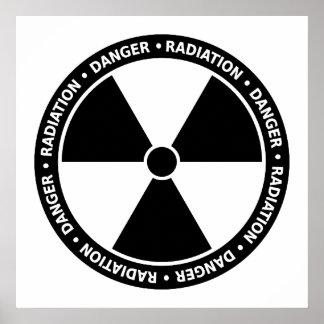 Poster blanco y negro del símbolo de la radiación