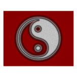 Poster blanco y negro del símbolo de Yin Yang