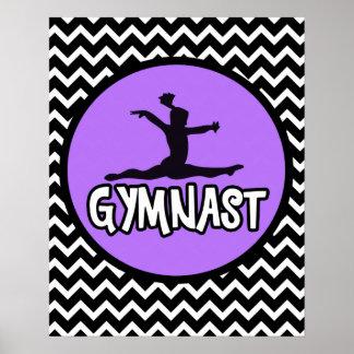 Poster blanco y negro simple del gimnasta de