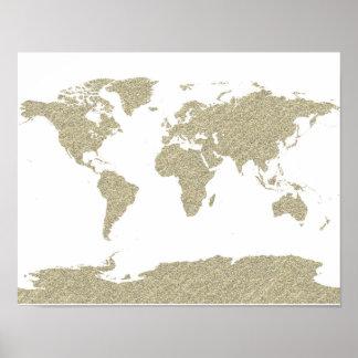 poster bling del arte abstracto del mapa del mundo