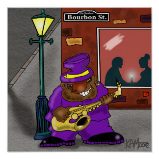 """Poster """"Blowin' on Bourbon"""" - by Kev Moore"""
