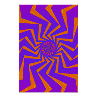 Poster: Blue & Orange Spiral Pattern: Vector Art Poster