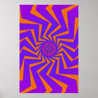 Poster: Blue & Orange Spiral Pattern: Vector Art Poster