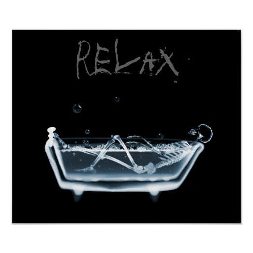 Poster- Blue Relax X-Ray Skeleton Bath Time Poster
