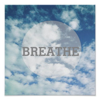 poster blue sky photo art with text breathe