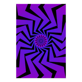 Poster Blue Spiral Pattern Vector Drawing