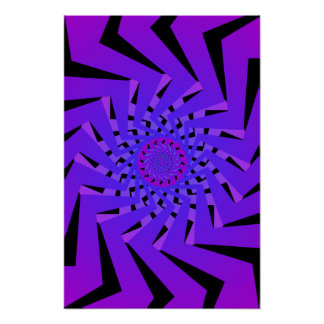 Poster: Blue Spiral Pattern: Vector Drawing Poster