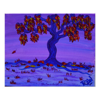 Poster - Blue Tree in the Fall