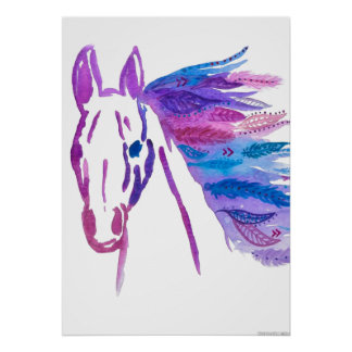 Poster bohemio salvaje del caballo por Megaflora