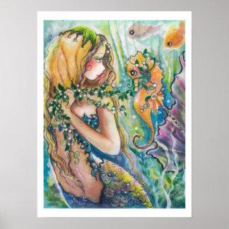 Poster bonito de la sirena y del caballo de mar