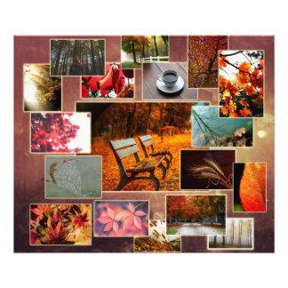 Poster bonito del collage del otoño y de la caída cojinete