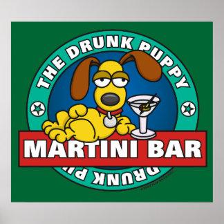 Poster borracho de la barra de Martini del perrito