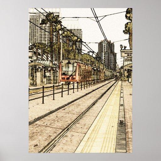 Poster - bosquejo del tren de San Diego