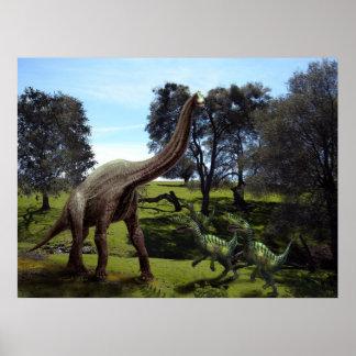 Poster ~ Brachiosaurus Attacked by Velociraptors