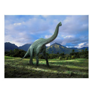 Poster ~ Brachiosaurus Dinosaur In Meadow