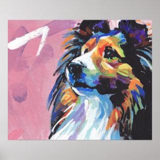 Poster brillante del arte pop del perro pastor de