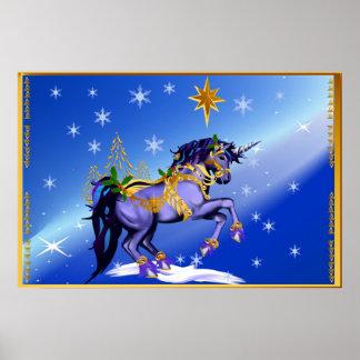 Poster brillante del unicornio del navidad