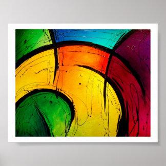 Poster brillante enrrollado del arte abstracto