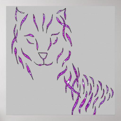 Poster brillante púrpura rosado gris del estilo