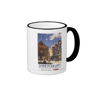 Poster británico de los ferrocarriles de la vieja  taza de café