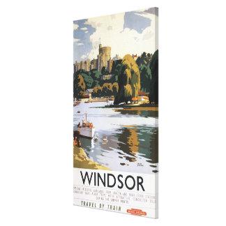 Poster británico de Thames del castillo de Windsor Impresiones En Lienzo Estiradas