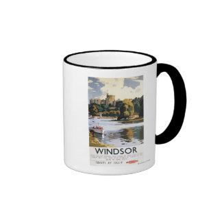 Poster británico de Thames del castillo de Windsor Tazas