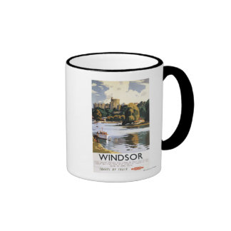 Poster británico de Thames del castillo de Windsor Taza