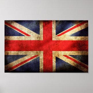 Poster británico oxidado de la bandera póster