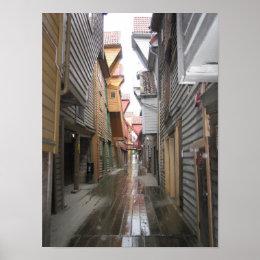 Poster: Bryggen Walkway, Bergen, Norway Poster