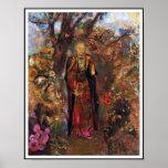 Poster: Buda que camina entre las flores