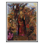 Poster: Buda que camina entre las flores Póster