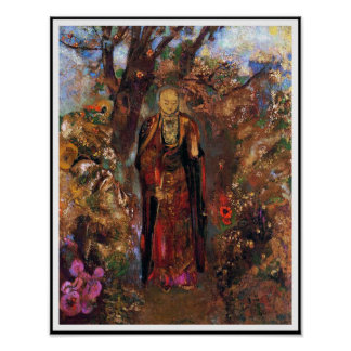 Poster Buddha Walking Among the Flowers