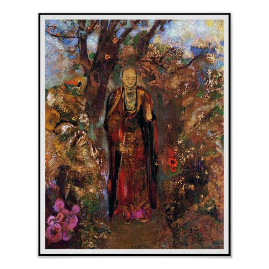 Poster: Buddha Walking Among the Flowers Poster