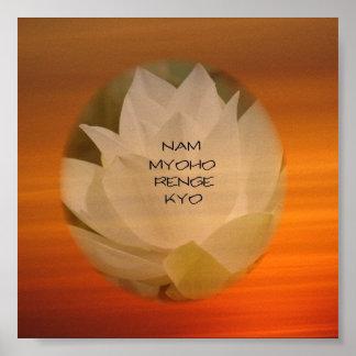 "Poster budista del SGI - Lotus ""Nam Myoho Renge Ky"