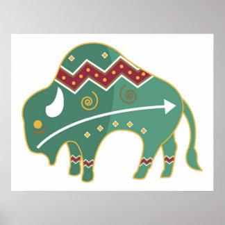 Poster Buffalo Design Native American