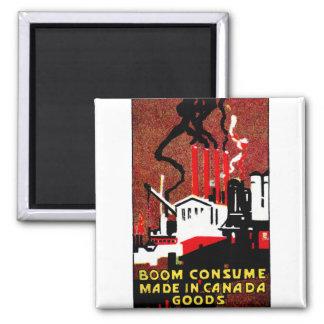 Poster canadiense de 1910 mercancías de la compra imán cuadrado