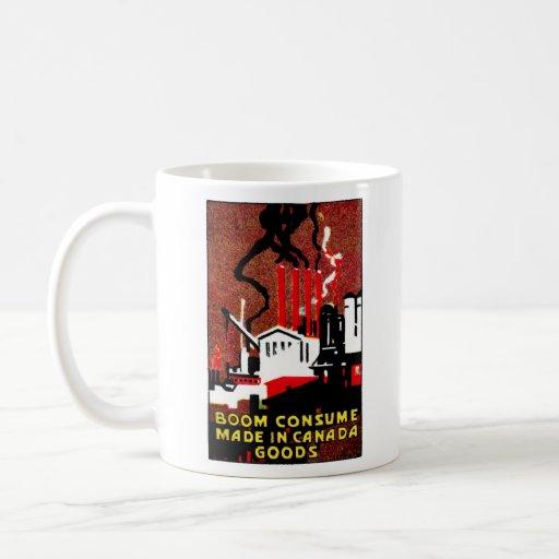 Poster canadiense de 1910 mercancías de la compra tazas