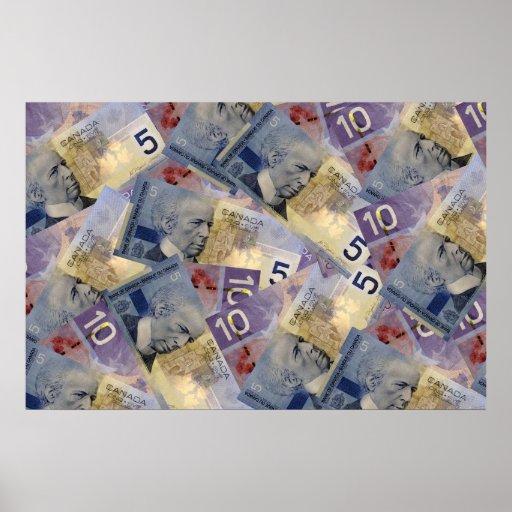 Poster canadiense del dinero póster