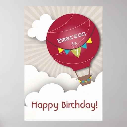 Poster candente del cumpleaños del balón de aire