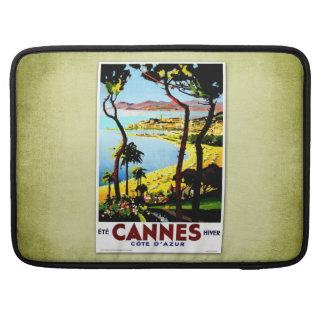 Poster Cannes Francia del vintage del viaje Funda Para Macbooks