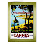 Poster Cannes Francia del vintage del viaje Felicitacion