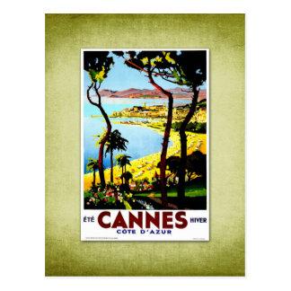 Poster Cannes Francia del vintage del viaje Tarjeta Postal