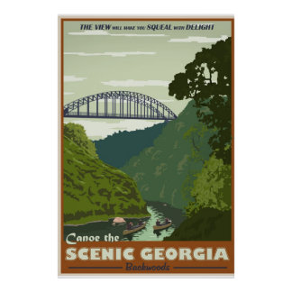 Poster Canoeing del viaje del vintage