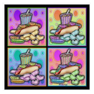 Poster, Canvas - Pop Art Hot Dog with Chips and a